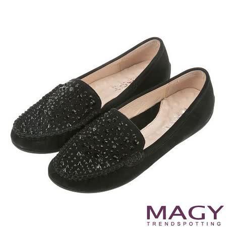 MAGY 甜美舒適 閃耀燙鑽牛麂皮休閒鞋-黑色