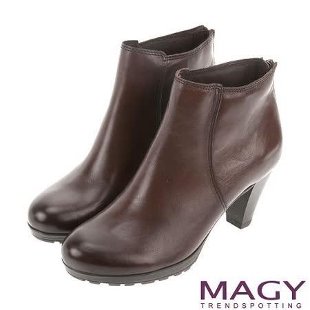 MAGY 紐約時尚步調 復古蠟感牛皮粗跟踝靴-咖啡