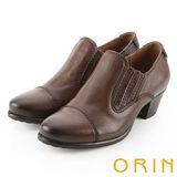 ORIN 個性簡約 雙色蠟感牛皮粗低跟踝靴-咖啡