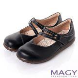 MAGY 樂活休閒 真皮瑪莉珍鞋帶舒適休閒鞋-黑色