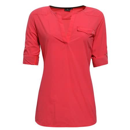 【hilltop山頂鳥】女款抗UV吸濕快乾長袖襯衫S05F61-蜜粉