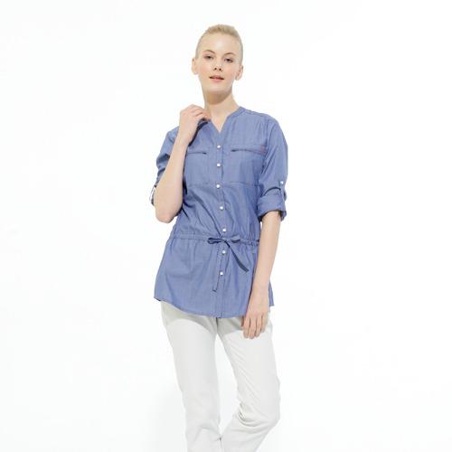 【hilltop山頂鳥】女款抗UV吸濕快乾長袖襯衫S05F60-牛仔藍