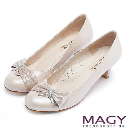 MAGY 美女系專屬 鑽環蝴蝶結柔軟羊皮中跟鞋-粉紅
