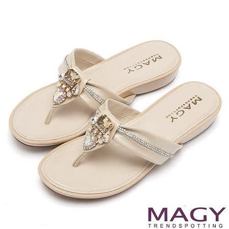 MAGY 迷人耀眼時尚風 超值水晶鑽飾夾腳拖鞋-米色