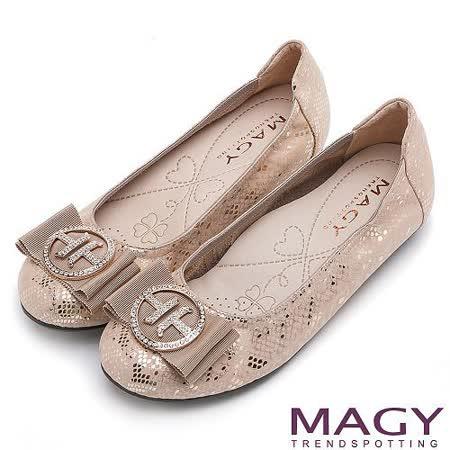 MAGY 甜美混搭新風貌 鑽飾蝴蝶結平底娃娃鞋-金色