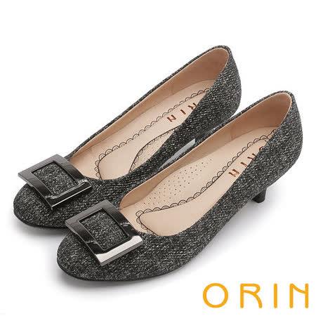 ORIN 時尚魅力 方型飾釦優雅中跟鞋-黑色