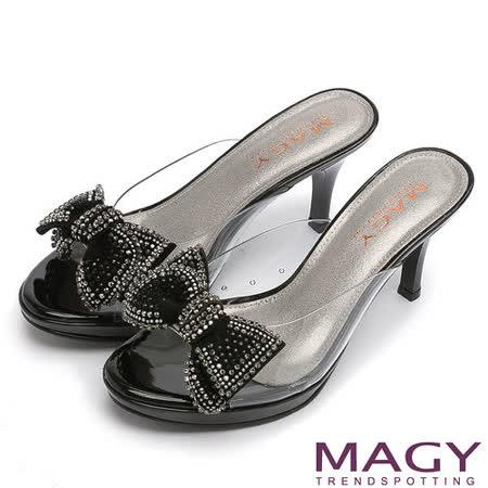 MAGY 時尚優雅名媛 典雅透色高跟涼拖鞋-黑色