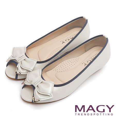 MAGY 優雅小姐 皮革蝴蝶結低跟魚口鞋-米色