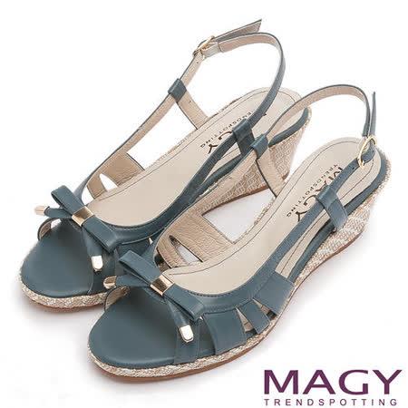 MAGY 時尚穿搭必備款 皮革線條簍空楔型涼鞋-藍色