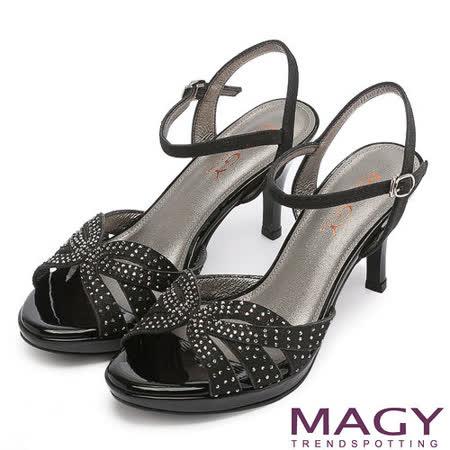 MAGY 時尚穿搭必備款 幾何鑽飾設計高跟涼鞋-黑色