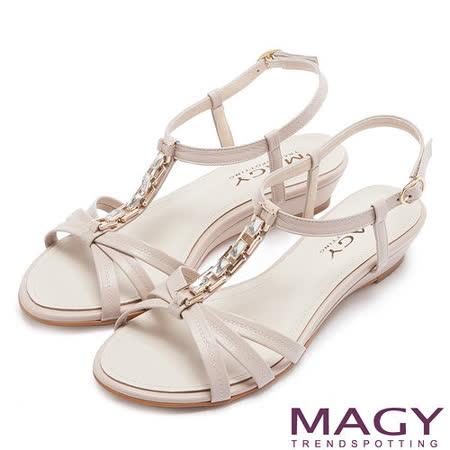 MAGY 夏日甜心 方型水鑽T字踝帶楔型涼鞋-米色