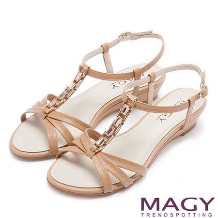 MAGY 夏日甜心 方型水鑽T字踝帶楔型涼鞋-棕色