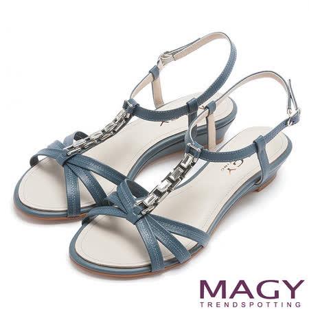 MAGY 夏日甜心 方型水鑽T字踝帶楔型涼鞋-藍色