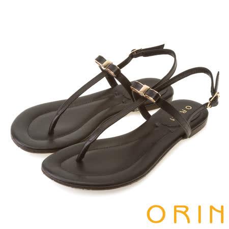 ORIN 夏日時尚風 細緻典雅T字形夾腳涼鞋-黑色