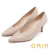 ORIN 時尚OL 簡約剪裁牛皮素面高跟鞋-粉色
