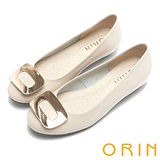 ORIN 時尚甜心 大方釦點綴鞋面低跟娃娃鞋-米色