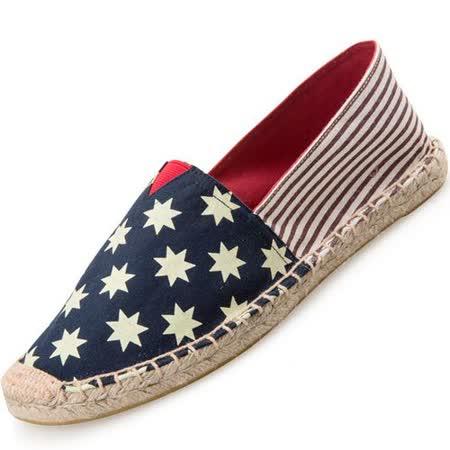 【Maya easy】快樂情侶鞋 35-44號 止滑平底內草編底鞋型 懶人套腳鞋 帆布鞋 休閒鞋 男女鞋-藍底白星星條紋款