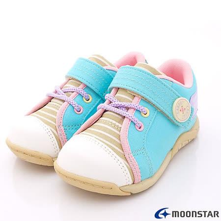 日本Carrot機能童鞋-條紋休閒運動鞋款-CRC21132藍粉(15cm-19cm)