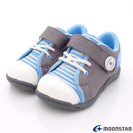 日本Carrot機能童鞋-條紋休閒運動鞋款-CRC21137藍灰(15cm-19cm)
