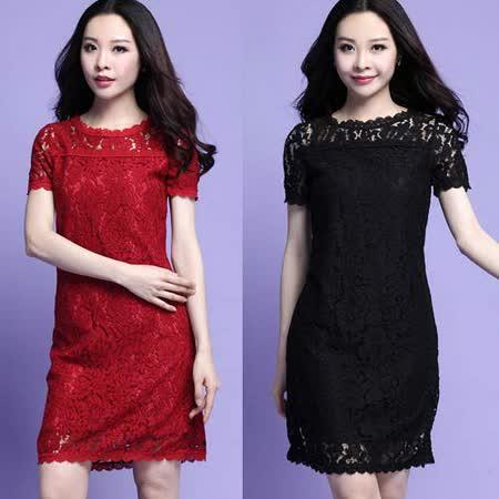 【麗質達人中大碼】3721蕾絲百搭洋裝(XL-4XL)