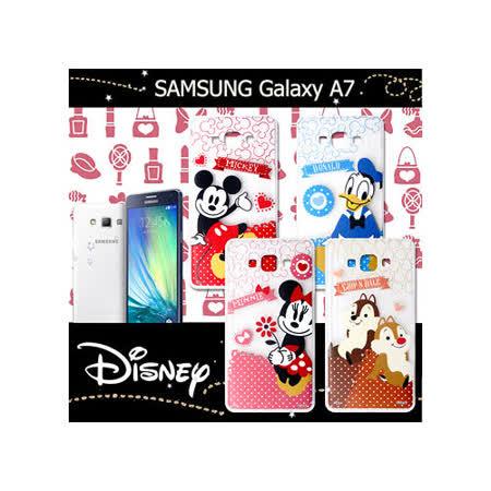 迪士尼授權正版 三星 SAMSUNG Galaxy A7 休閒點點透明軟式保護套 手機殼 (經典組)
