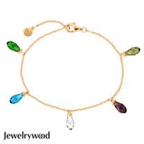 Jewelrywood 純銀拜占庭梨型水晶石情人手鍊