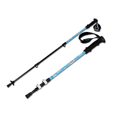 【韓國SELPA】開拓者特殊鎖點三節式鋁合金握把式登山杖-藍色