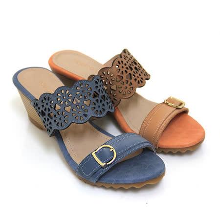 【GP bird 波兒德】鏤空花邊金屬裝飾扣全真皮楔型拖鞋