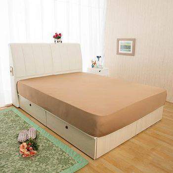 HomeBeauty 超長效激涼涼感床包 特大-涼感咖
