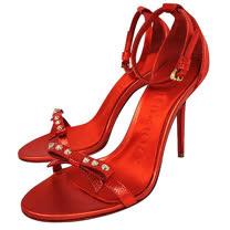 BURBERRY 皮革細帶高跟涼鞋(橘紅色/36號)