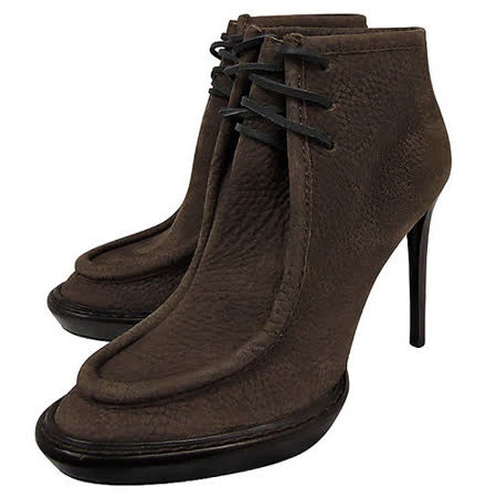 BURBERRY 皮革綁帶高跟短靴(咖啡色/35.5號)