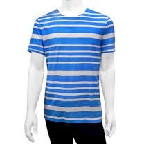 BURBERRY 條紋純棉男性短袖上衣(藍色/L號)