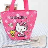HELLO KITTY 餃形便當袋-粉色+台灣製環保三件式餐具組