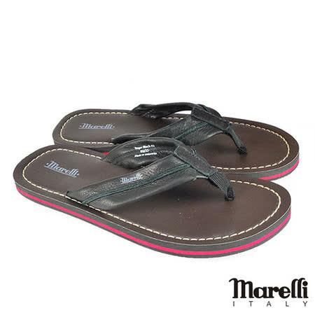 【marelli】休閒簡約真皮夾腳拖鞋 黑色(MRS01-BL)