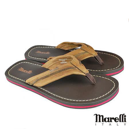 【marelli】休閒簡約真皮夾腳拖鞋 咖啡(MRS01-BR)