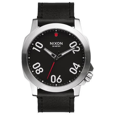 NIXON RANGER星際領航員時尚潮流腕錶-銀框黑x皮帶