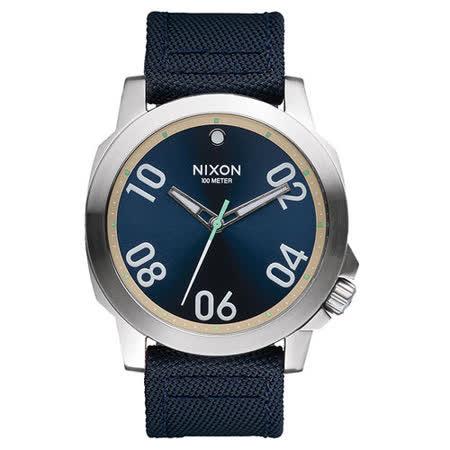 NIXON RANGER星際領航員時尚潮流腕錶-銀框深藍x帆布帶