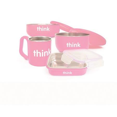 美國Thinkbaby無毐不鏽鋼餐具組-粉色