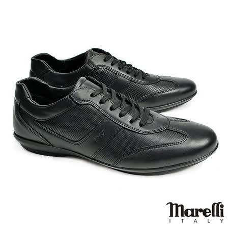 【marelli】Casual核心氣墊皮革休閒鞋 黑色(30250-BL)