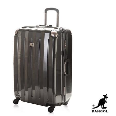 KANGOL 英國袋鼠 高質感閃耀金屬鋁框行李箱 24吋 純PC鏡面材質-黑 KG51124-02