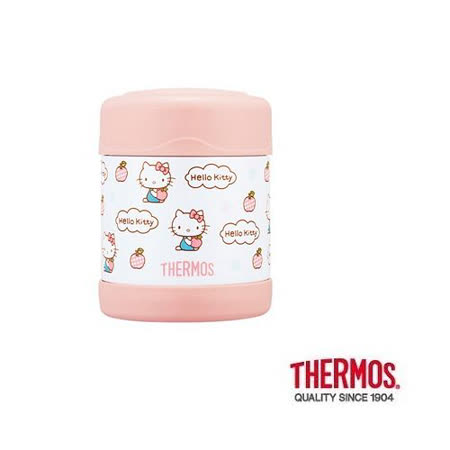 THERMOS膳魔師 不鏽鋼真空保溫食物罐0.3L KITTY蘋果篇(F3004KT6)