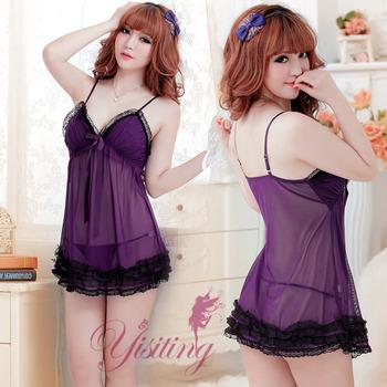 【Yisiting】盡情使愛!層層蕾絲薄紗性感睡衣﹝紫﹞ 情趣性感內衣