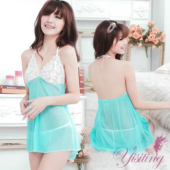 【Yisiting】微妙滋味!性感蕾絲薄紗透視睡衣﹝藍﹞ 性感睡衣