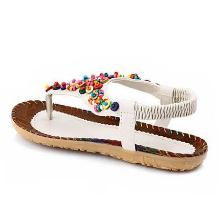 【Maya easy】甜美民族彩珠風格夾腳平底涼鞋/沙灘鞋 (白色)