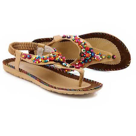 【Maya easy】甜美民族彩珠風格夾腳平底涼鞋/沙灘鞋 (淺棕色)
