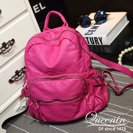 DF Queenin日韓 - 首爾流行款柔軟皮革手感後背包-共3色