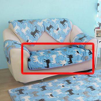 HomeBeauty 極度涼感精梳棉沙發布坐墊-椅面 雙人座-藍色喵喵