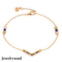 Jewelrywood 純銀AztecV字三色鋯石手鍊