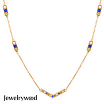 Jewelrywood 純銀AztecV字三色鋯石項鍊