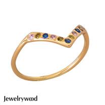 Jewelrywood 純銀AztecV字三色鋯石戒指